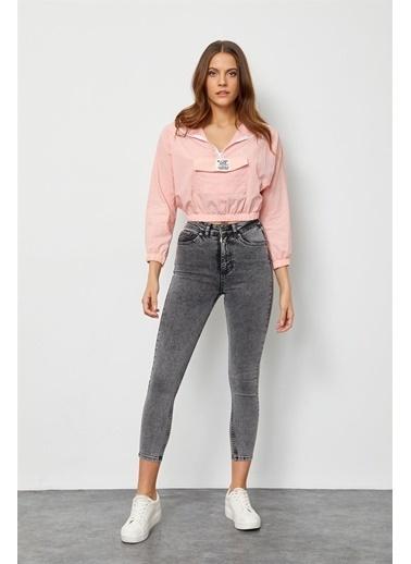 Setre Lila Kapüşonlu Crop Bluz Pembe